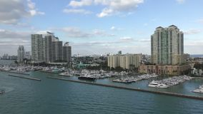 Miami Beach marina. Miami Beach waterfront buildings and marina stock video