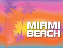 Miami Beach white lettering with colorful palm trees on beatiful sunset backround. Travel Postcard stock illustration