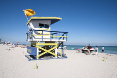 Miami beach wooden lifeguard tower Royalty Free Stock Image