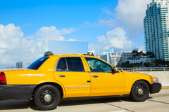 Miami beach yellow cab taxi in a bridge Florida Stock Image