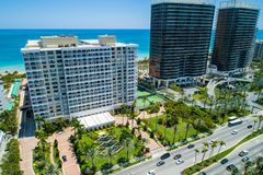 Miami beachfront condominiums shot with a drone. Drone Aerial image of Miami beachfront condominiums Bal Harbour USA royalty free stock image