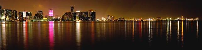 Miami bij Nacht Stock Foto's