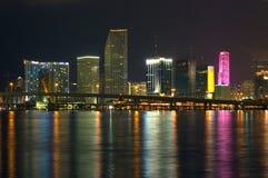 Miami bij Nacht Stock Afbeelding