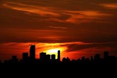 Miami bij zonsondergang Stock Foto's