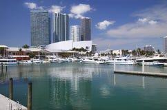 Miami Biscayne Bay. Biscayne Bay, Miami, Florida and stadium stock image