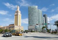 Miami Biscayne boulevard royaltyfri fotografi