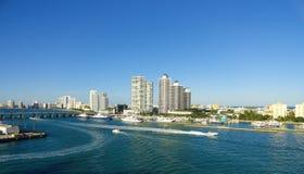 Miami Biscayne Panorama. Panoramic view of Miami Beach from the Cruiseship Port Stock Photography