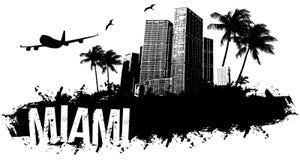 Miami black background. Black background Miami Skyline urban grunge Royalty Free Stock Image