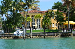 Miami Boat Tour Mansion of Star Island. This photo was taken in Miami. Miami, at Florida's southeastern tip, is a vibrant city whose Cuban influence is reflected Stock Photos