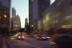 Miami Brickell Avenue. City night lights at Miami Brickell financial district Royalty Free Stock Photos