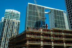 Miami Brickell Construction. Miami, Florida USA - January 29, 2019: New downtown construction project progressing next to Brickell City Centre, a newly royalty free stock images