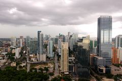 Miami Brickell under Storm Clouds Stock Photo