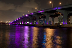 Miami bridge lit in purple Stock Image