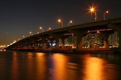 Miami bridge noc Fotografia Royalty Free
