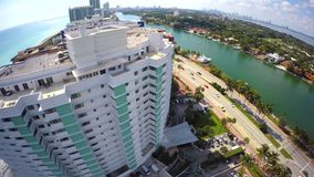Miami buidling flyover aerial stock video