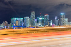 Miami buildings at night. Beautiful city skyline Stock Photos