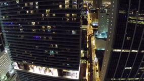 Miami céntrica en la noche almacen de metraje de vídeo