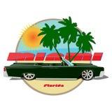 Miami car cadillac cabriolet  poster. Miami florida car cadillac cabriolet  poster sea Stock Photography