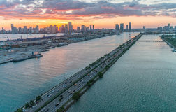 Miami causeway from the air. Aerial view of Florida coastline Royalty Free Stock Photos