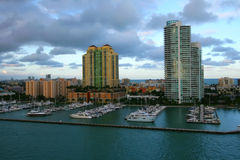 Miami City. Buildings, boats and water in Miami, FL Stock Images