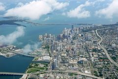 Miami city Downtown aerial view  blue sea Royalty Free Stock Images