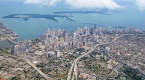 Miami city Downtown aerial view  blue sea. Buildings town Stock Photo
