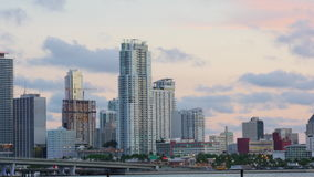 Miami city downtown sunset bridge apartment buildings view 4k time lapse usa stock video footage