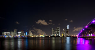 Miami city night skyline Royalty Free Stock Image