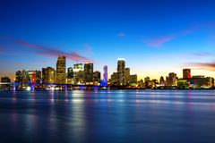 Miami city by night Stock Image
