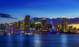 Miami city by night Royalty Free Stock Photo