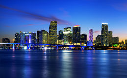 Miami city by night Stock Images