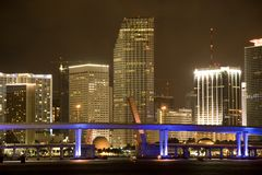Miami downtown at night Royalty Free Stock Photo