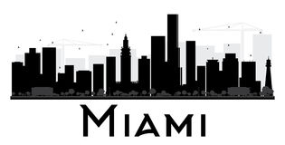 Miami City skyline black and white silhouette. Vector illustration. Simple flat concept for tourism presentation, banner, placard or web site. Business travel Stock Photos