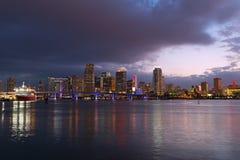 Miami city skyline at dusk. Stock Photos