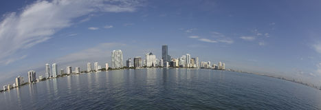 Miami city skyline fisheye view Royalty Free Stock Photo