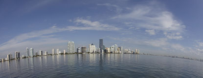 Miami city skyline fisheye Stock Image