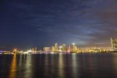 Miami city skyline panorama at dusk Royalty Free Stock Photo