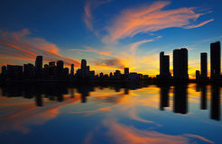 Miami city skyline panorama at dusk Stock Image
