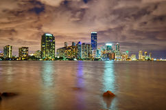 Miami city skyline panorama at dusk with urban skyscrapers Royalty Free Stock Photos