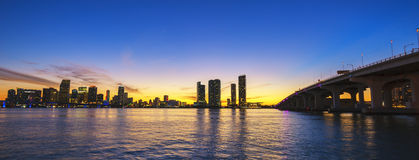 Miami city skyline panorama at dusk Stock Photos