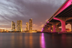 Miami city skyline panorama at dusk Royalty Free Stock Images