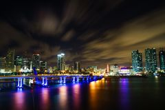 Miami city skyline panorama at dusk with urban skyscrapers and bridge over sea with reflection Stock Image