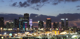 Miami City skyline panorama at night Stock Photo