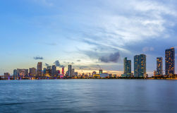 Miami city skyline panorama at night. With urban skyscrapers and bridge Stock Images