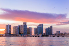 Miami city skyline panorama at twilight Royalty Free Stock Photos