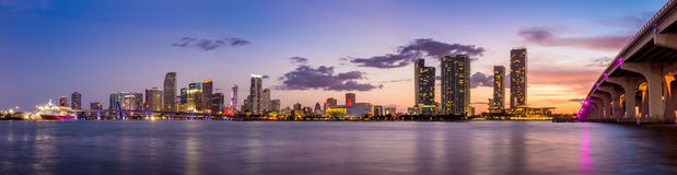 Miami city skyline panorama at twilight Stock Image