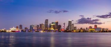Miami city skyline panorama at twilight Royalty Free Stock Photography