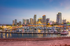 Miami city skyline panorama at twilight Stock Photography