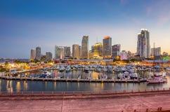 Miami city skyline panorama at twilight Stock Photography