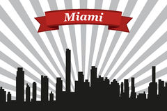 Miami city skyline with rays background and ribbon Royalty Free Stock Images